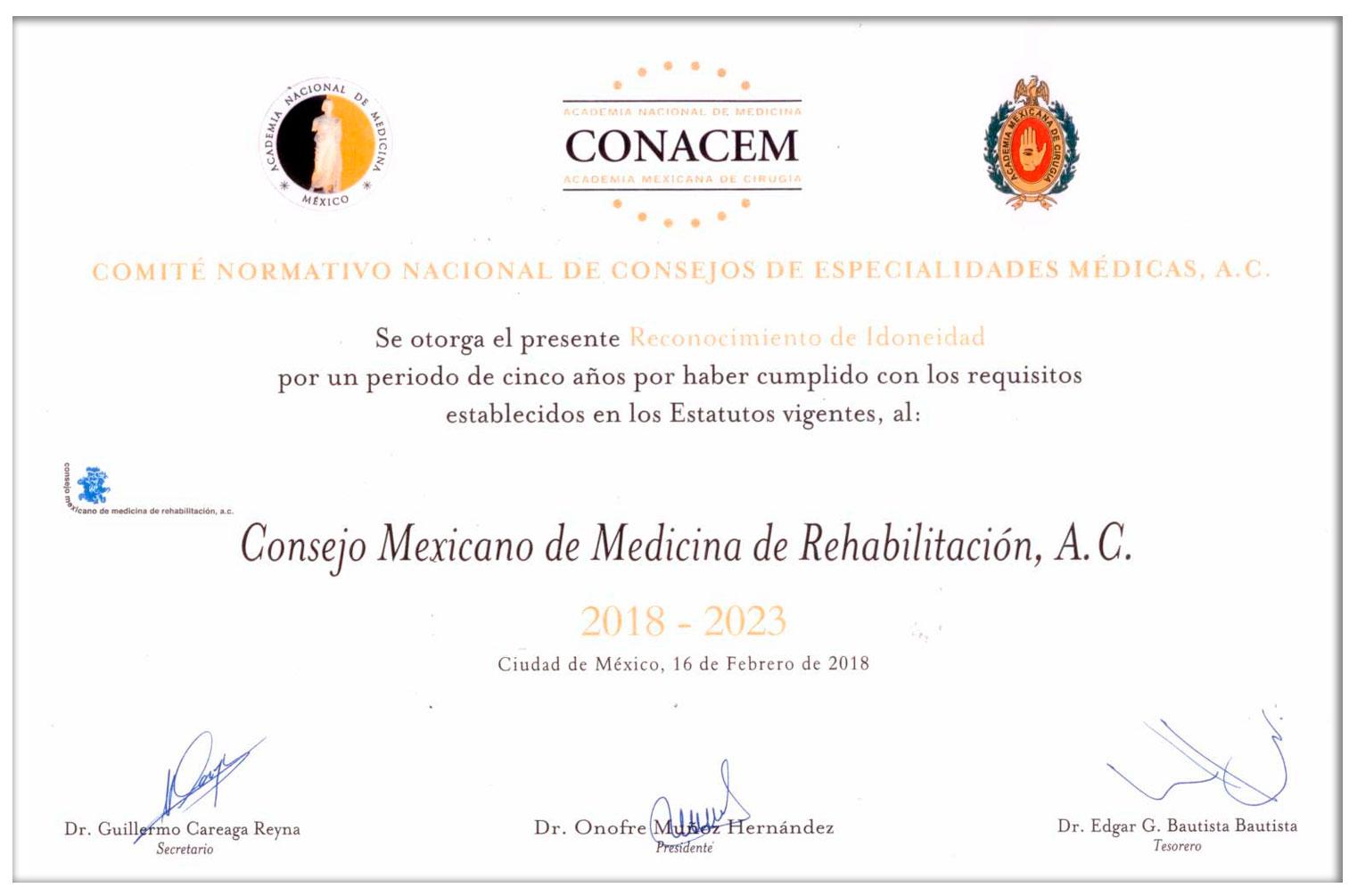 El Consejo Mexicano de Medicina de Rehabilitación A.C.